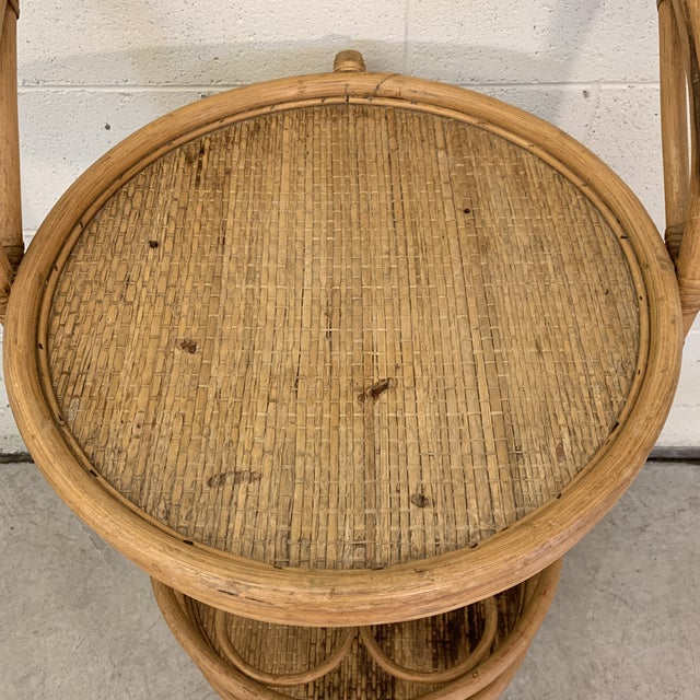 1970s Vintage Bamboo Bar Cart on Casters For Sale - Image 5 of 12