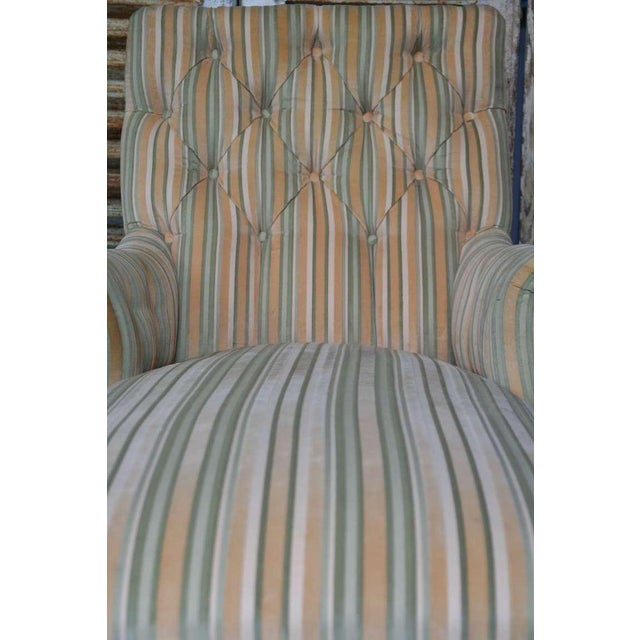 French 19th C. Napoleon III Chaise Lounge in Striped Fabric - Image 8 of 11