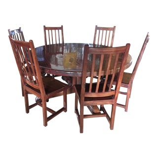Arts and Crafts Dining Red Jarrah Wood - Set of 7 For Sale