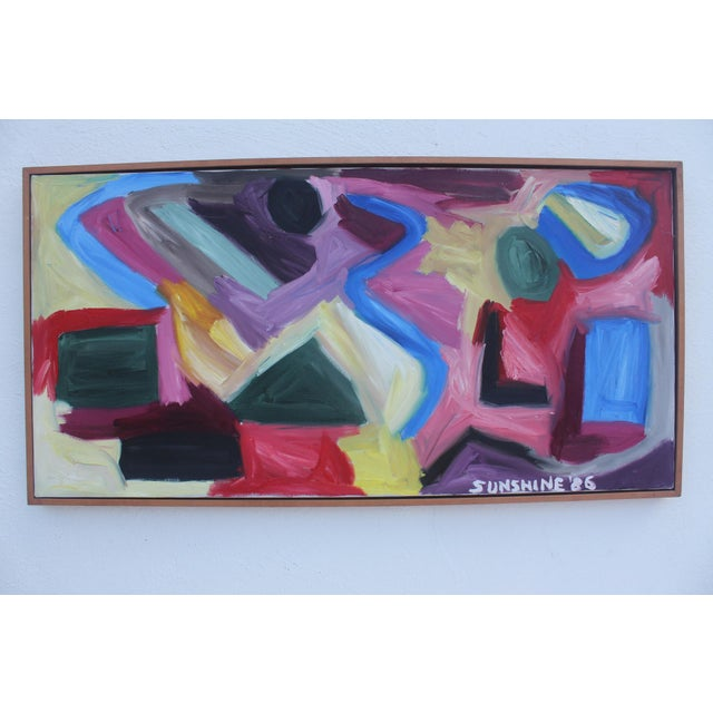 This is a 1986 vintage expressionist abstract acrylic painting on canvas signed below by Sunshine. The painting is...