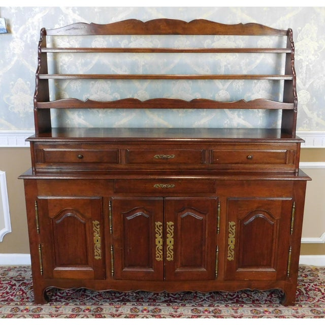 Quality French Made Oak Dining Room Buffet w/ Open Plate Rack Hutch c1970s - Image 11 of 11