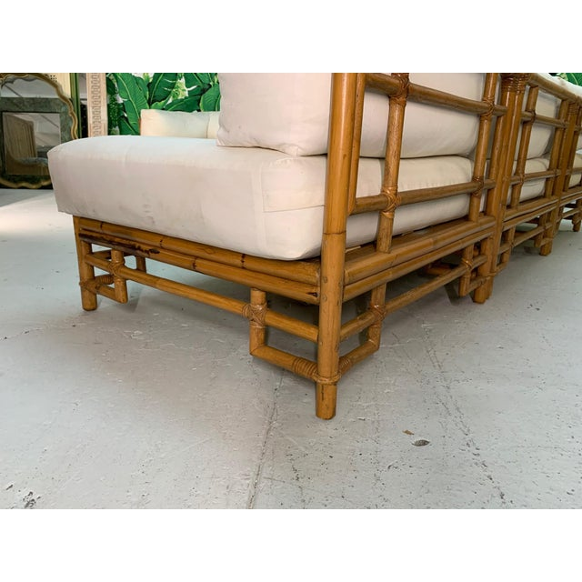 Wood Ficks Reed Rattan Chinoiserie Sectional Sofa For Sale - Image 7 of 12