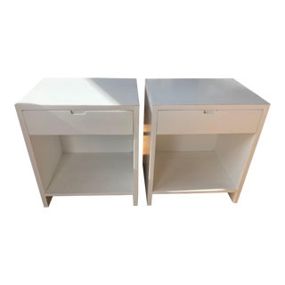 White Lacquer Nightstands - A Pair For Sale