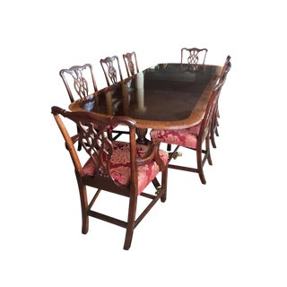 Councill Craftsman Mahogany Inlay Dining Room Set Table and Twelve Chairs For Sale