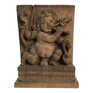 18th Century Antique Indian Hindu Temple Carving of a Snake Charmer For Sale