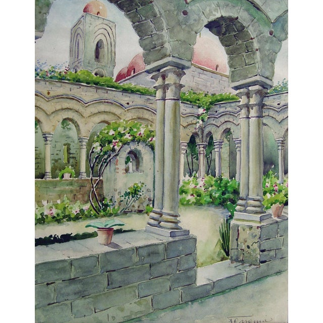 """Colonnaded courtyard garden watercolor on paper, circa 1910. Signed """"Fearonia"""" lower right corner. Displayed in mat and..."""