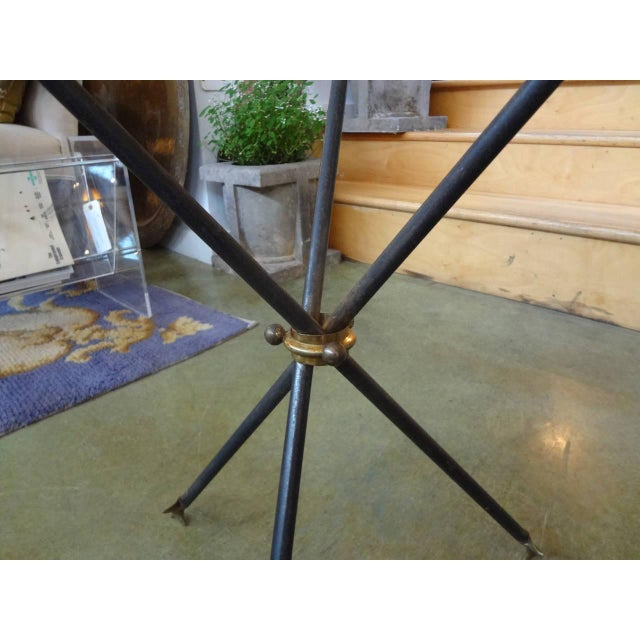 Gio Ponti 1960s Mid Century Modern Iron and Bronze Arrow Base Side Table For Sale - Image 4 of 9