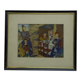"Framed and Matted Print ""Family Dinner"" by Arthur Szyk"