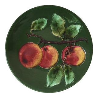 1920s Vintage German Majolica Apple Plate For Sale