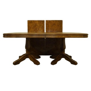 20th Century Italian Drexel Heritage Banded Top Double Pedestal Dining Table For Sale