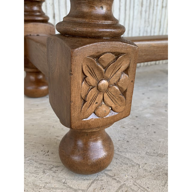 Spanish Baroque Carved Walnut Console Table With Two Drawers, Circa 1860 For Sale - Image 11 of 13