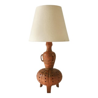 Large Glazed Terracotta Lamp 1960s For Sale