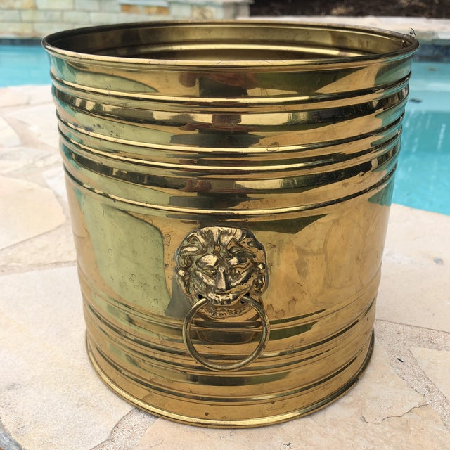 Gold Vintage English Brass Dual Lions Head Planter For Sale - Image 8 of 10