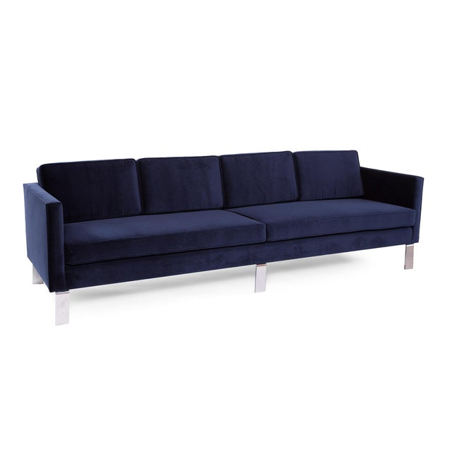Martin Brattrud large scale navy mohair and mirror polished steel sofa circa mid-1970s. This example has been recently...