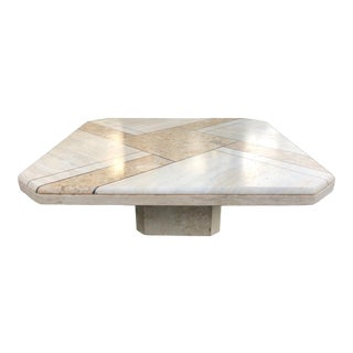 Vintage Geometric Travertine Natural Stone Coffee Table, Italy 1970s For Sale