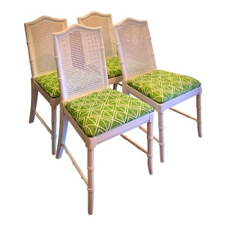 1960's Faux Bamboo Cane Back Dining Chairs - Set of 4 For Sale