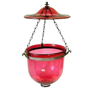 Mid 19th Century Vintage Cranberry Glass Hall Lantern For Sale