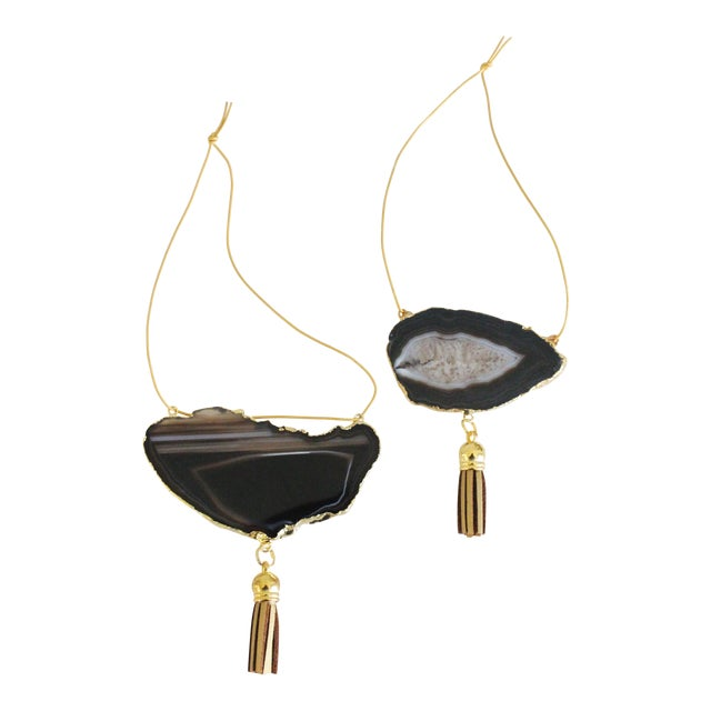Modern Boho Black Agate Holiday Ornaments - A Pair - Image 1 of 6
