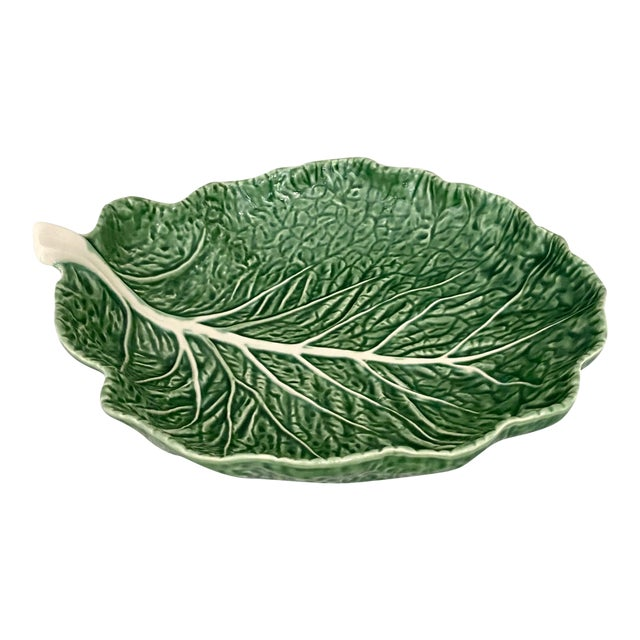 Vintage Green Bordallo Pinheiro Cabbage Leaf Bowl For Sale