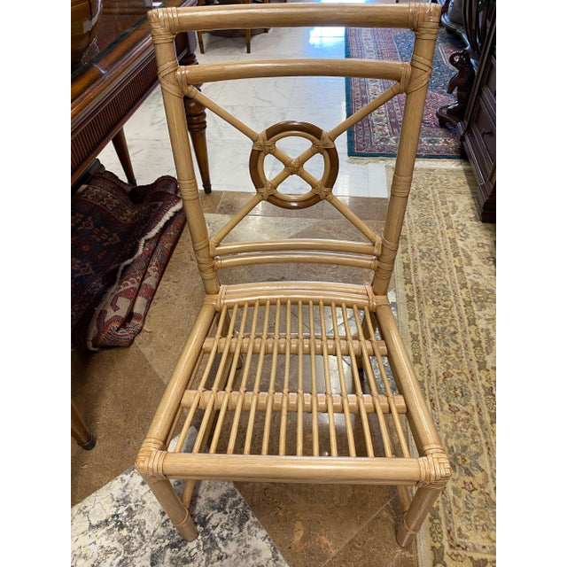 """Japanese McGuire """"Target"""" Rattan Dining Set - 5 Pieces For Sale - Image 3 of 13"""