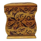 Image of Vintage Red & Gold Bombay Hand-Carved Wood Playing Cards Box With Lid For Sale