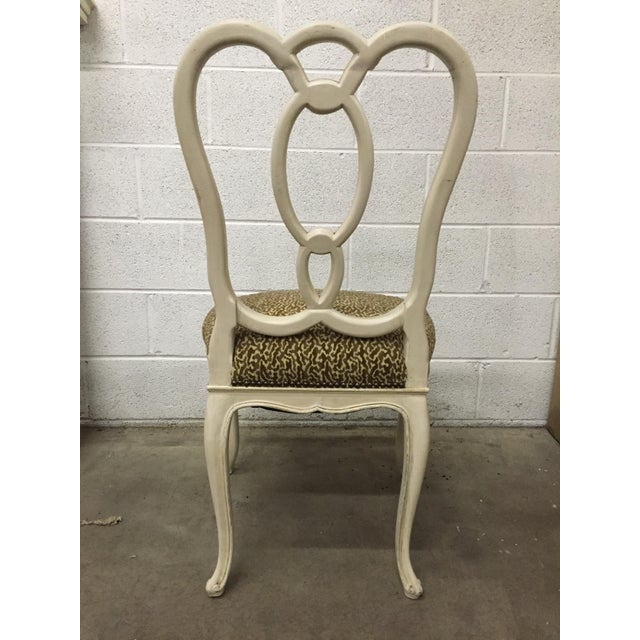 1940s Vintage Cream Wood Ribbon-Back Dining Side Chairs With Upholstered Seat - a Pair For Sale - Image 5 of 9