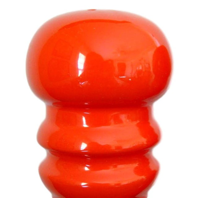 Late 20th Century Tall Japanese Vintage Blood Orange Ceramic Salt & Pepper Shakers For Sale - Image 5 of 6