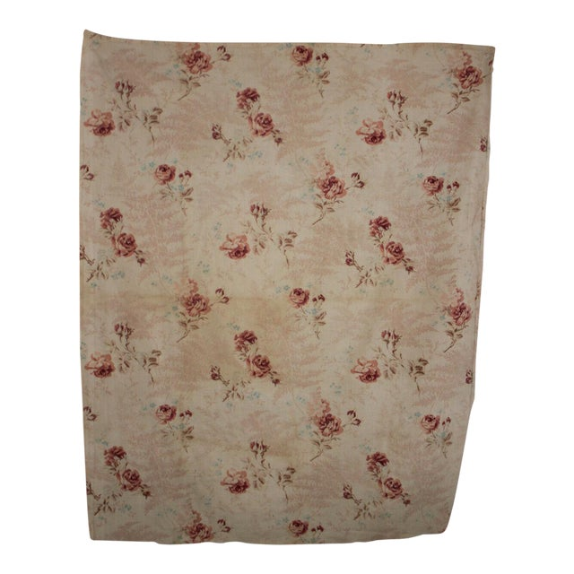 Antique French Shabby Chic Printed Cotton Faded Roses Ribbon Pink Ferns  Fabric