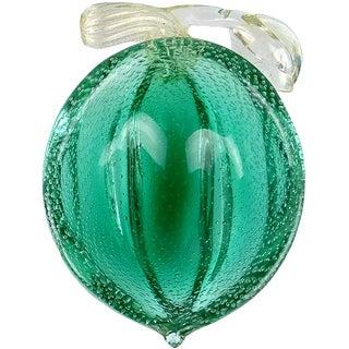Murano Vintage Green Gold Flecks Bullicante Italian Art Glass Lemon Lime Fruit Bowl
