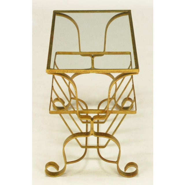 Gilt Iron & Glass Side Table With Magazine Caddy. - Image 4 of 6