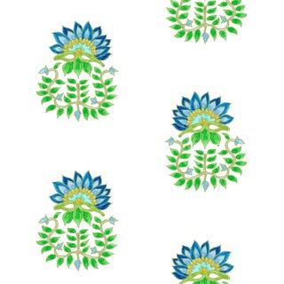 Ferran Gazania Fabric, 2 Yards, Lapis in Linen/Cotton For Sale