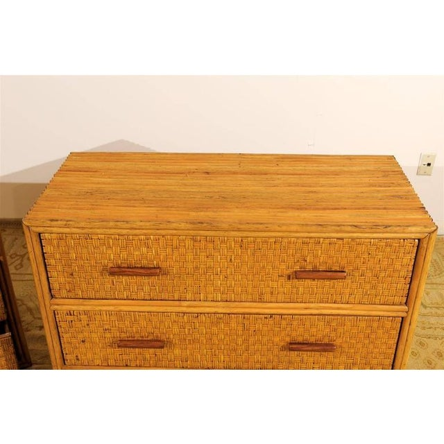 Yellow Handsome Pair of Restored Vintage Bamboo and Rattan Chests For Sale - Image 8 of 10