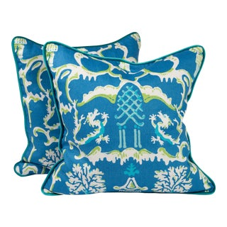 """22"""" Folly Peacock by Dana Gibson for Stroheim Pillows, Pair For Sale"""