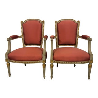 Louis Style Painted Arm Chairs - a Pair For Sale