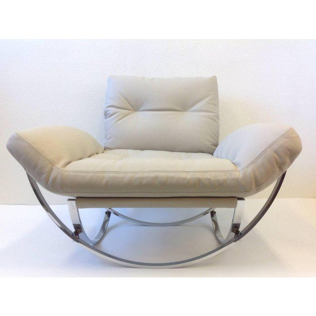 1970s Italian Polish Stainless Steel and Leather Lounge Chair and Ottoman by Leonart Bender for Charlton Co. For Sale - Image 5 of 13