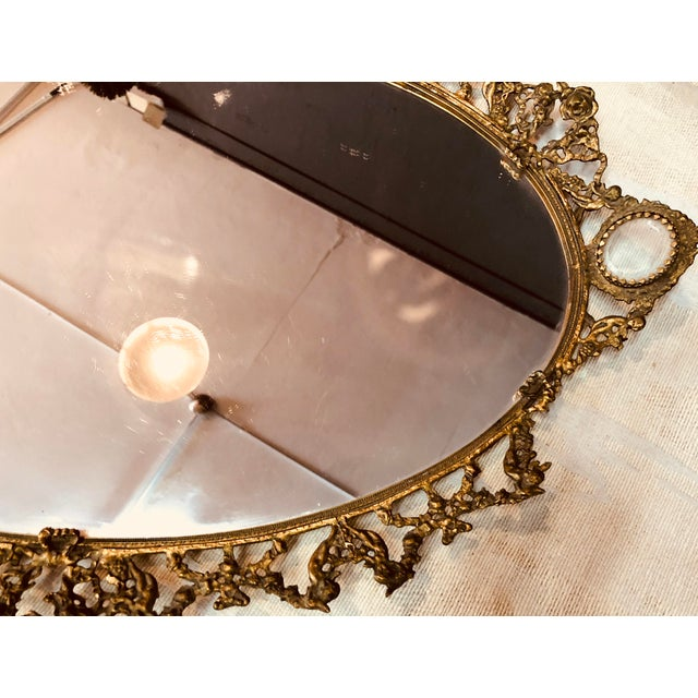 Paris hunting trip find, antique mirrored ormolu Cherubs scene motif tray.
