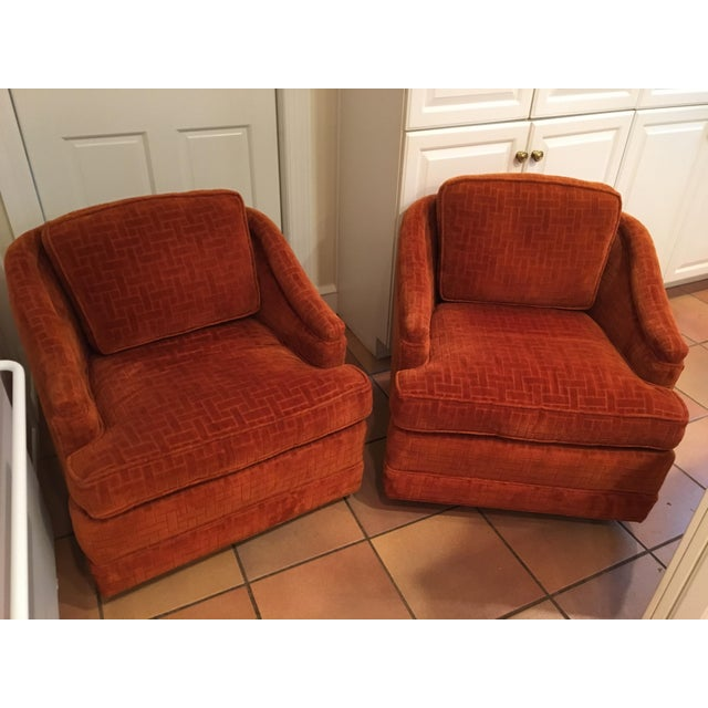 Mid-Century Barrel Swivel Chairs - A Pair - Image 2 of 8