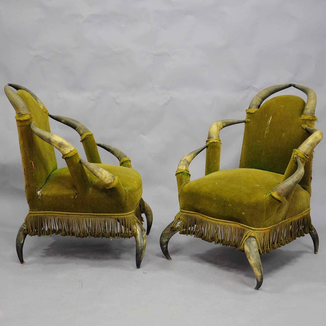 a pair antique bull horn chairs, from a noble villa in austria. with antique green velvet fabric. unrestored original...