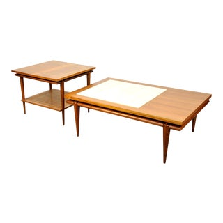 Widdicomb Walnut, White Marble and Cane Coffee and Side Table Set For Sale