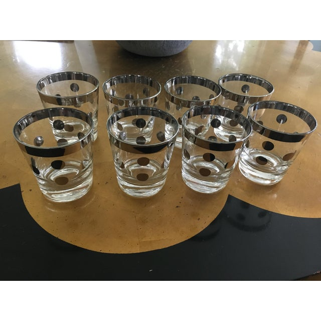 Polka Dot Silver Glasses Dorthy Thorpe Style - Set of 8 For Sale In Chicago - Image 6 of 9