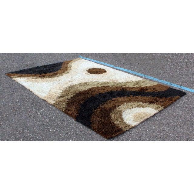 Mid-Century Modern Mid Century Modern Large Shag Rya Wool Area Rug Carpet Black Brown Beige 60s 70s For Sale - Image 3 of 7
