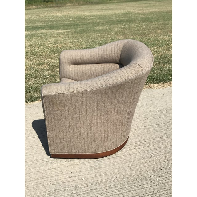 Mid-Century Modern Swivel Club Chairs Wood Plinth Base - a Pair For Sale In Dallas - Image 6 of 13