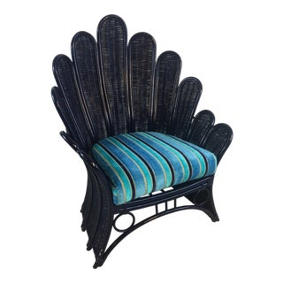 Laquered Vintage Rattan Flower Chair For Sale