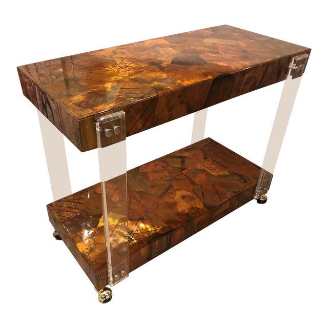 Vintage Brutalist Copper Brass Mixed Metals Patchwork Lucite Bar Cart For Sale