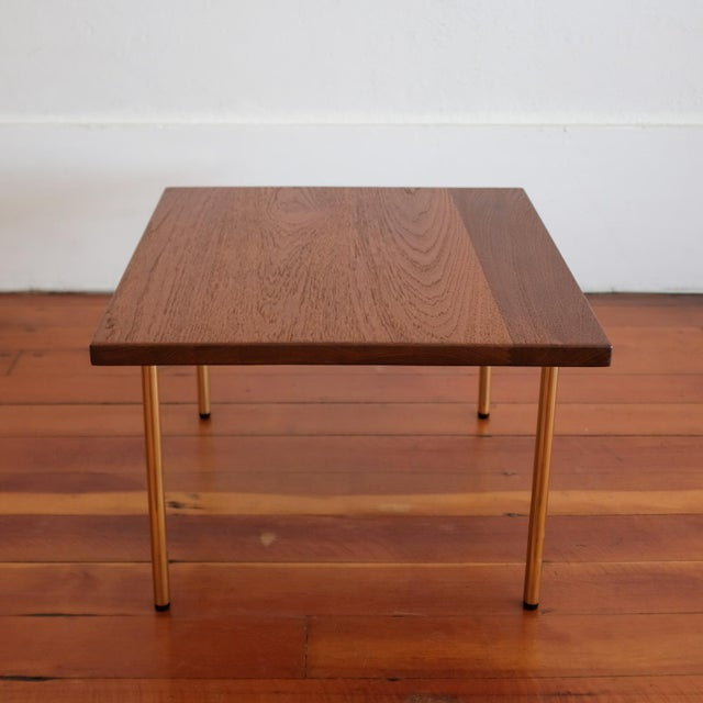 John Stuart Peter Hvidt Teak Side Table With Brass Legs, 1950s For Sale - Image 4 of 8