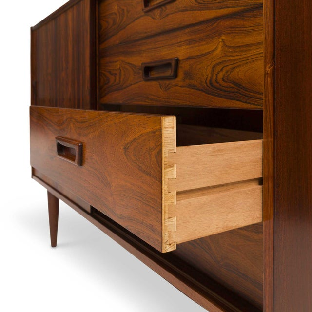 Wood Vintage Danish Mid-Century Rosewood Four Drawer Credenza/Sideboard For Sale - Image 7 of 9