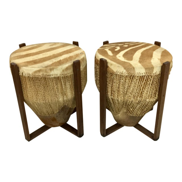 African Zebra Skin Drum Tables - a Pair For Sale