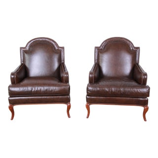 Baker Furniture Brown Leather Lounge Chairs, Pair For Sale
