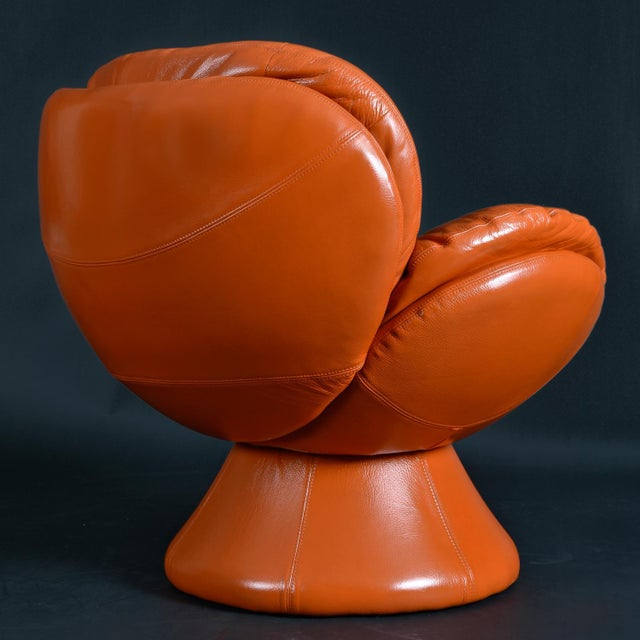 Leather Nineteen-Laties Pedestal Base Orange Leather Swivel Pod Chairs by Jaymar For Sale - Image 7 of 13