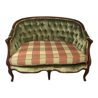 Vintage Velvet Tufted Harlequin Plaid Settee